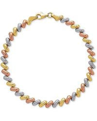 Macy's - Tricolor Link Bracelet In 14k Gold, White Gold & Rose Gold - Lyst