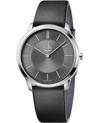 CALVIN KLEIN 205W39NYC - Men's Swiss Minimal Black Leather Strap Watch 40mm K3m211c4 - Lyst