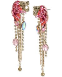 Betsey Johnson - Gold-tone Crystal & Stone Fringe Drop Earrings - Lyst