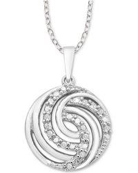 """Macy's - Diamond Swirl 18"""" Pendant Necklace (1/10 Ct. T.w.) In Sterling Silver - Lyst"""