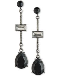 Carolee - Hematite-tone Stone & Pavé Linear Drop Earrings - Lyst