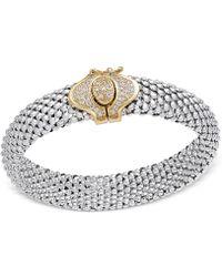 Macy's - Diamond Dew Drop Popcorn Mesh Bracelet (1/2 Ct. T.w.) In Sterling Silver And 14k Gold-plate - Lyst
