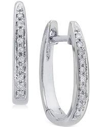 Macy's - Diamond (1/10 Ct. T.w.) Channel-set Hoop Earrings In 14k White Gold - Lyst