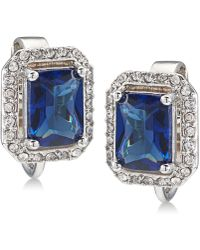 Carolee - Silver-tone Pavé & Blue Stone Clip-on Stud Earrings - Lyst