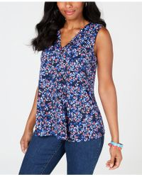 Charter Club - Pleated V-neck Floral Top, Created For Macy's - Lyst