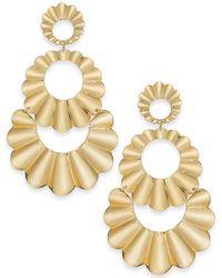 Kate Spade - Gold-tone Scalloped Triple Drop Earrings - Lyst