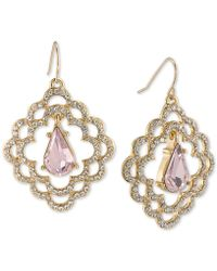 Carolee | Gold-tone Pavé & Pink Stone Scalloped Drop Earrings | Lyst