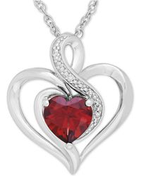Macy's - Rhodolite Garnet (1-3/8 Ct. T.w.) And Diamond Accent Heart Pendant Necklace In Sterling Silver - Lyst