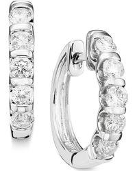 Macy's - Channel-set Diamond Hoop Earrings In 14k White Gold (1 Ct. T.w.) - Lyst