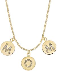 "Kate Spade - Gold-tone Pavé Mom Charm Pendant Necklace, 17"" + 3"" Extender - Lyst"