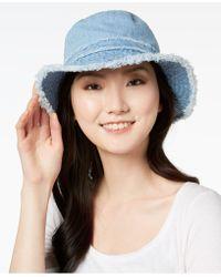 August Accessories - Cotton Denim Floppy Hat - Lyst