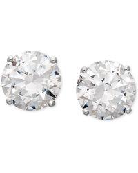 Arabella - 14k White Gold Earrings, Swarovski Zirconia Round Stud Earrings (6-5/8 Ct. T.w.) - Lyst