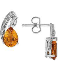 Macy's - Citrine (1-9/10 Ct. T.w.) & Diamond Accent Teardrop Swirl Drop Earrings In Sterling Silver - Lyst