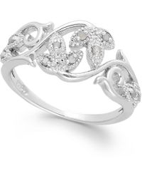 Macy's - Diamond Vine Ring In Sterling Silver (1/10 Ct. T.w.) - Lyst