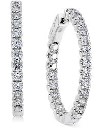 Macy's - Diamond In-and-out Hoop Earrings (3 Ct. T.w.) In 14k White Gold - Lyst