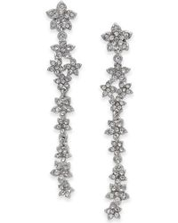 INC International Concepts - I.n.c. Silver-tone Crystal Cluster Flower Linear Drop Earrings, Created For Macy's - Lyst