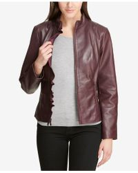DKNY - Ruffled Leather Moto Jacket, Created For Macy's - Lyst