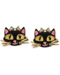 Betsey Johnson - Antique Gold-tone Cat Stud Earrings - Lyst
