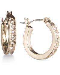 Lonna & Lilly - Gold-tone Pavé Crystal Hoop Earrings - Lyst