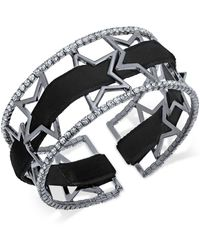 INC International Concepts | Openwork Star Pavé Cuff Bracelet With Velvet Ribbon | Lyst