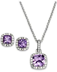 "Macy's - Sapphire (3 Ct. T.w.) & Diamond Accent Sterling Silver 18"" Pendant Necklace And Stud Earrings (also In Blue Topaz & Amethyst) - Lyst"
