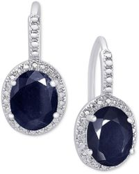 Macy's - Sapphire (6 Ct. T.w.) And Diamond Accent Drop Earrings In Sterling Silver - Lyst