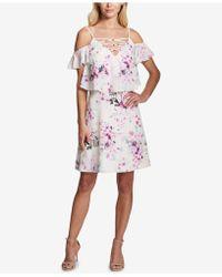 Kensie - Floral Cold-shoulder Popover Dress - Lyst