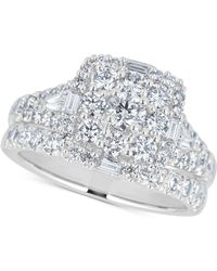 Macy's - Diamond Square Cluster Bridal Set (2 Ct. T.w.) In 14k White Gold - Lyst