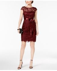 Adrianna Papell - Lace Cap-sleeve Illusion Sheath Dress - Lyst