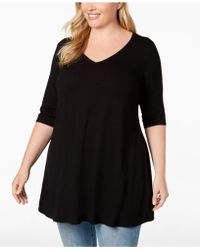 Eileen Fisher - Plus Size Stretch Jersey V-neck Peplum Top - Lyst