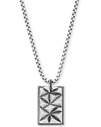 "Steve Madden - Silver-tone Textured Dogtag Pendant Necklace, 26"" + 2"" Extender - Lyst"