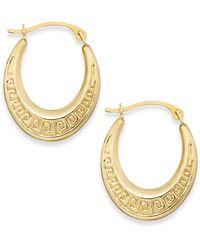 Macy's - 10k Gold Earrings, Greek Key Hoop Earrings - Lyst