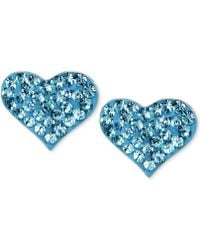 Betsey Johnson - Silver-tone Heart Blue Crystal Stud Earrings - Lyst