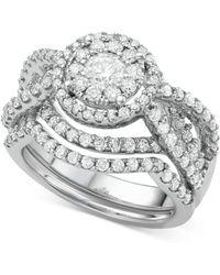 Macy's - Diamond Interlocking Halo Bridal Set (2 Ct. T.w.) In 14k White Gold - Lyst