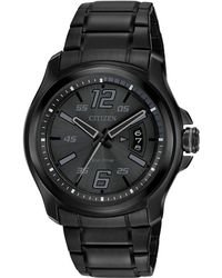 Citizen - Men's Eco-drive Black Ion-plated Stainless Steel Bracelet Watch 43mm Aw1354-82e - Lyst