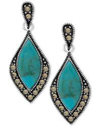 Macy's - Marcasite & Stone Drop Earrings In Fine Silver-plate - Lyst