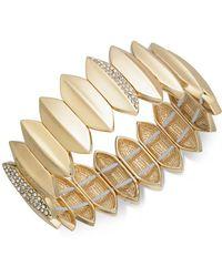 INC International Concepts - Gold-tone Pavé Leaf Stretch Bracelet - Lyst