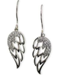 Macy's - Diamond Angel Wing Earrings (1/5 Ct. T.w.) In 10k White Gold - Lyst