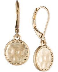 Lonna & Lilly - Gold-tone Hammered Disc Drop Earrings - Lyst