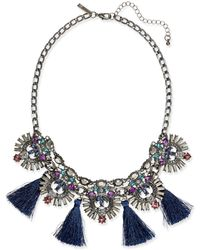 INC International Concepts | Hematite-tone Multi-stone & Blue Tassel Statement Necklace | Lyst
