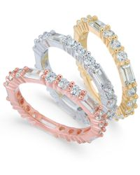 Macy's - Cubic Zirconia Tri-tone 3-pc. Set Of Stack Rings - Lyst