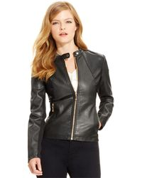 Ivanka Trump - Faux-leather Moto Jacket, Black - Lyst