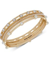 Anne Klein - Gold-tone 3-pc. Set Crystal & Imitation Pearl Bangle Bracelets, Created For Macy's - Lyst