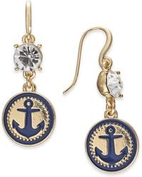 Charter Club - Gold-tone Crystal & Enamel Anchor Drop Earrings, Created For Macy's - Lyst