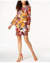 Donna Ricco - Printed Bell-sleeve Dress - Lyst