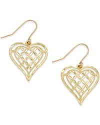 Macy's | Openwork Heart Drop Earrings In 10k Gold | Lyst