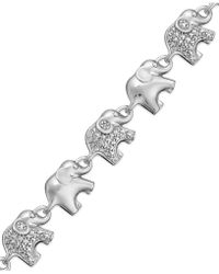 Macy's - Sterling Silver-plated Diamond Accent Linked Elephant Charm Bracelet - Lyst