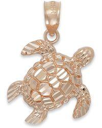 Macy's - Diamond-cut Turtle Charm In 14k Rose Gold - Lyst