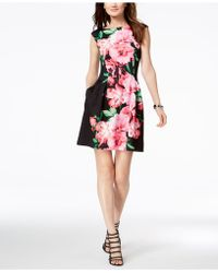 Vince Camuto - Printed Cap-sleeve Fit & Flare Dress - Lyst