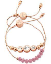 Guess - Rose Gold-tone 2-pc. Set Crystal & Bead Slider Bracelets - Lyst